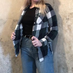 Green, black, white flannel- Merona size S